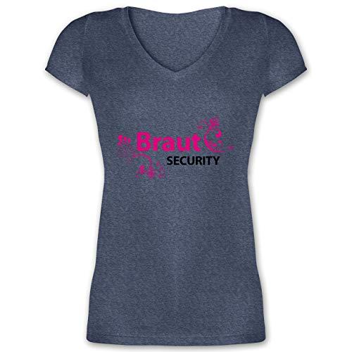 JGA Junggesellinnenabschied - Braut Security - M - Dunkelblau meliert - XO1525 - Damen T-Shirt mit V-Ausschnitt