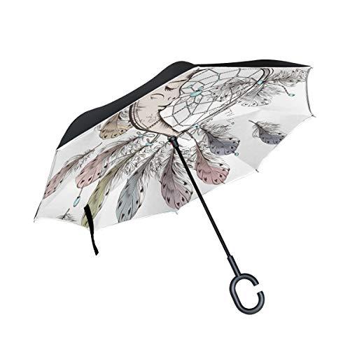 SKYDA Paraguas Plegable con diseño Bohemio y Plumas de atrapasueños, Paraguas invertido, Doble Capa, Resistente al Viento, con Mango en Forma de C