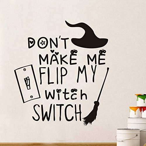 cht meine Hexe Schalter Besenstiel Wandaufkleber Für Kinderzimmer Wanddekor Festival Party Halloween Dekoration Zubehör54 * 59 cm ()