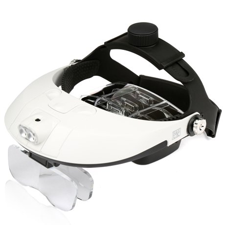 Price comparison product image H&S® Illuminated LED Light Head Loupe Magnifier Visor Magnifying Glass Headband headset