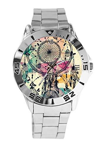 Reloj de Pulsera analógico con diseño de atrapasueños, de Cuarzo, Esfera Plateada, Correa clásica de Acero Inoxidable, para Hombre y Mujer