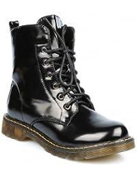 Ideal Shoes - Bottines montantes à lacets vernies Nady