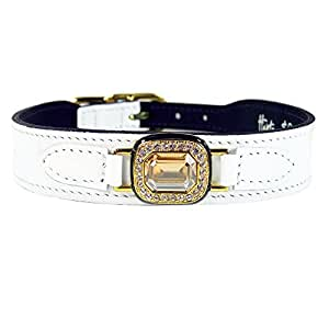 Hartman and Rose Haute Couture Octagon Collection Collars Harnesses/ Leads, Sizes 14 - 16-inch, White Patent Leather