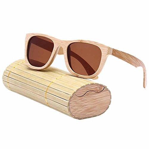 Gafas de sol polarizadas para hombre y mujer estilo 'vintage' con montura de bambú y caja de almacenamiento Tawny