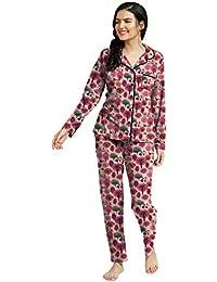 So Sweety Women Printed Pink Shirt & Pyjama Set | Full Open MEROON Color | Full Sleeve Top & Pyjama/Night Suits/Night Dress/Cotton Night Dress | Full Open