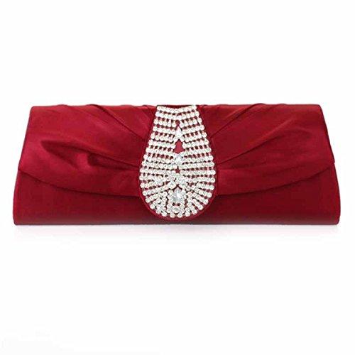 Frauen-Weinlese Diamant Abendtasche Handy Kosmetiktasche WineRed