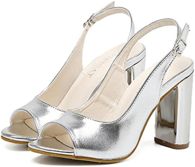 051dc1992c5336 GAOLIXIA GAOLIXIA GAOLIXIA Women s Shoes PU Summer New Fish Mouth Shoes  Thick With High Heels Comfort Sandals Black Silver B07C9XPLXR Parent b21246