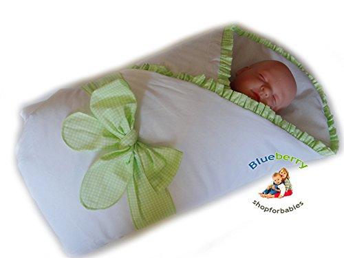Preisvergleich Produktbild BlueberryShop Satin Wickeldecke Decke Bettdecke für Neugeborene Baby 100% Baumwolle 0-4M ( 0-3m ) ( 78 x 78 cm ) Grün Kariert
