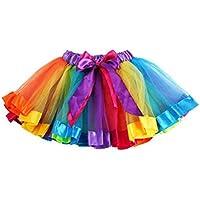 Verano niña niños Petticoat arco iris pettis Kirt lazo Rock Tutu vestido Danc ewear, color multicolor, tamaño large