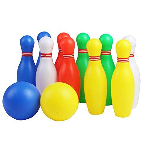 Unbekannt Bowlingkugel Boule-Spiele Kegelspiel pädagogische interaktive Spielzeug für Kinder ab 3 Jahren (Klein -12 Stück) , MEHRWEG