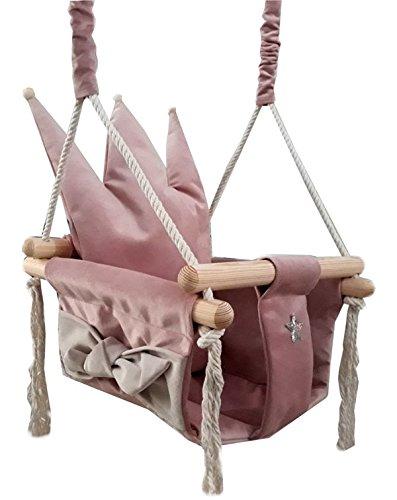 Golden Kids Babyschaukel Babysitz Baby Kinderschaukel Holz Stoff Schaukel zum Aufhängen Baumschaukel (Rosa - Krone) -
