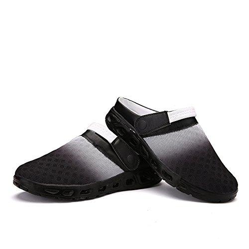 Bwiv sabots dété légers pour homme et femme sandales de plage pantoufles avec bride des tailles 37-43 Noir et blanc