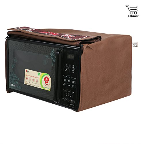 eretailer Polyester and Cotton Flower Printed Microwave Oven Cover, 30 L, Brown
