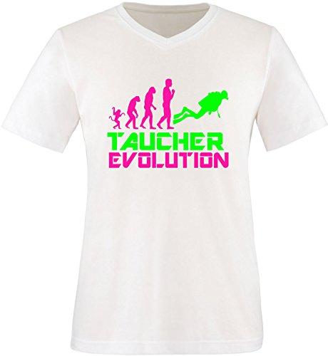 EZYshirt® Taucher Evolution Herren V-Neck T-Shirt Weiss/Pink/Neongr