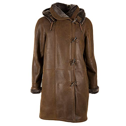 Celtic & Co Womens Traditional Sheepskin Duffle Coat - Honey/Brown - Size Large Trim Hooded Toggle