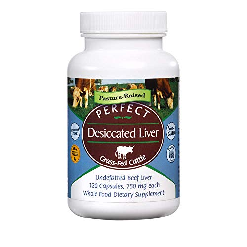 Perfect Desiccated Liver - Grass Fed Undefatted Argentine Beef Liver (120 capsules, 750mg per capsule, Net wt 90g)