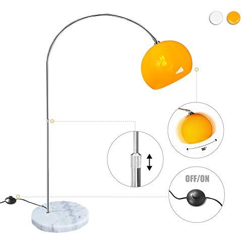 CCLIFE LED E27 Bogenlampe Stehlampe Stehleuchte Marmorfuß weiß/orange Standleuchte, Farbe:Orange -