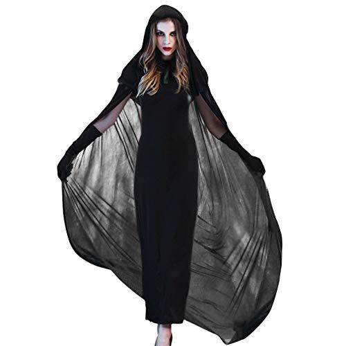 hes Hexen-Kostüm für Damen Halloween Vampirin Mittelalter Kleid Umhänge (Brust 86cm, Schwarz) ()