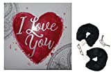 Love Cuffs erotische Liebes-Handschellen mit abnehmbaren Plüschbezug, mit Schlüssel, Sex Erotik Geschenkbox Geschenkeideen für sie, ihn und Paare, schwarz