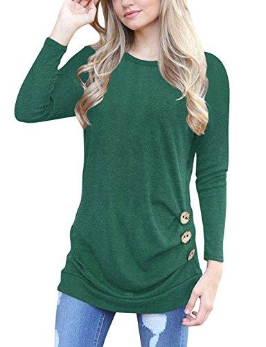 Yieune T-Shirt Femme Été Manche Longue Tops Hors épaule Chemise Tops sans Bretelles Imprimé Floral Vert