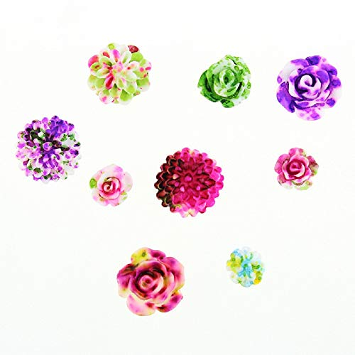 GNYD Damen Mode 3D Rose Blume Nail Art Charm Perlen bunte Harz Nagelspitzen Maniküre Rad