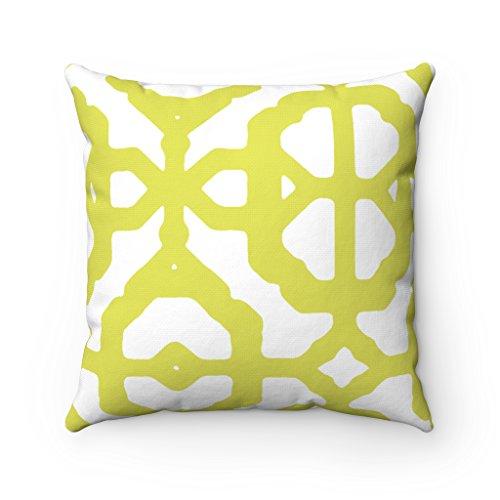 Kissenbezug, Muster: Marokkanischer Vierpass, geometrisch, asymmetrisch,für Sofa / Bett, 43x 43cm, Farben: Gelb / Weiß -