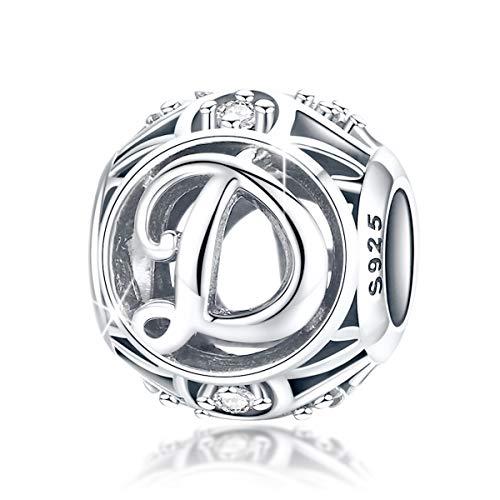 FOREVER QUEEN Alphabet Buchstabe D Charm Bead mit klaren Zirkonia kompatibel für europäische Armbänder 925 Silber Sterling Charm Anhänger,BJ09121-D MEHRWEG (Silber Charms Pandora)