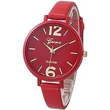 Relojes Pulsera Mujer,Xinan Ginebra Imitación Cuero de Cuarzo Analógico Relojes (Rojo)