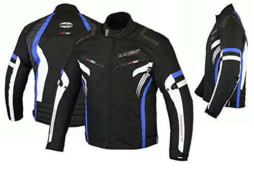 MBSmoto MJ22 Max Motocicleta Motocicleta Corta Textile Touring Jacket (Azul, 4XL)