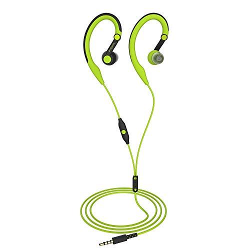 Läuft Kopfhörer über Ohr in Ohr Sport in-Ear Ohrbügel Wired Stereo-Workout-Ohrpolster für Joggen Fitness für iPhone ipod Samsung grün (Läuft Sport-ohrhörer)