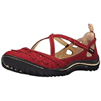 Jambu Women's Blossom Encore Mary Jane Flat, Red, 8 M US