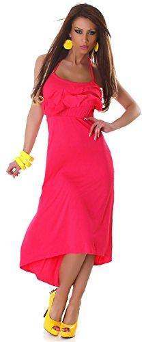 Jela London Damen Neckholder-Kleid lang Einheitsgröße (32-38) Pink