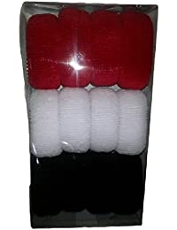 Shyam Hosiery Black, Red & White Hair Rubber Band_Pack Of 3 (36 Pcs)