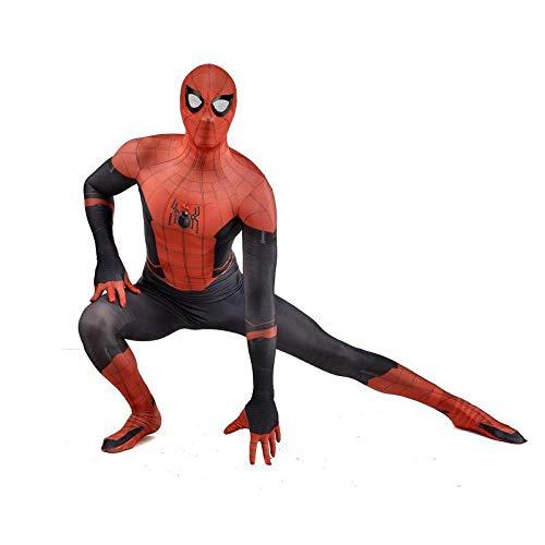 SHANGN Kinder Erwachsene Film Cosplay Kostüm Super Hero Rot Schwarz Spiderman Kostüm Für Erwachsene Overall,Adult-M (Schwarzes Spiderman Kostüm Erwachsene)