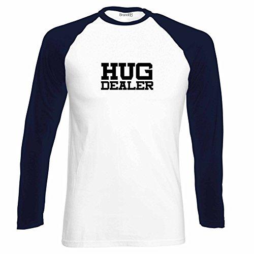 Brand88 - Hug Dealer, Langarm Baseball T-Shirt Weiss & Dunkelblau