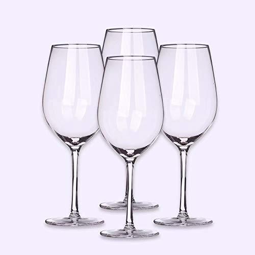 HKN Mundschlag Burgunder Bleifreies Kristallglas Weinglas 4er-Set Geeignet für Verschiedene Weinanwendungen Pinot Noir, Gamay, Zweigelt, St. Laurent usw. Rotweinglas