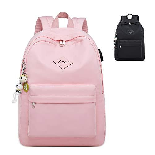 FEDUAN Campus Rucksack Schultasche Schulrucksack Studententasche Laptop-Rucksäcke mit USB/Kopfhörer Anschluss Tagesrucksack modisch Reiserucksack Mädchen Jungen Teenager groß 18L M3 rosa pink