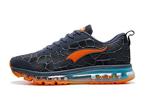 Onemix Herren Air Laufschuhe Sportschuhe mit Luftpolster Turnschuhe Leichte Schuhe See blau orange Größe 47 EU (Walker-running-schuhe)