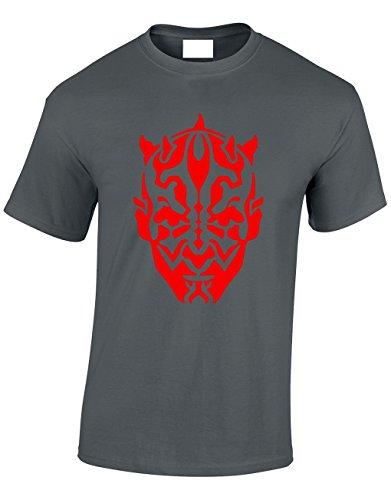Crown Designs Darth Maul Silhoette Sci Fi Film Inspiriert Geschenk Für Männer Und Jugendliche T-Shirts Tops (Holzkohle/Medium)