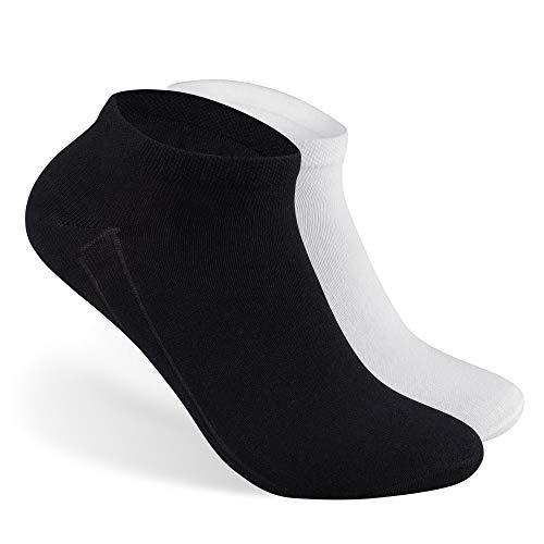 Bärenfuß Damen & Herren Sneaker Socken Kurz - 10 Paar Sneakersocken aus Baumwolle in Weiß & Schwarz - Freizeit, Sport | 35-38, 39-42, 43-46 (35-38, 5x Weiß 5x Schwarz) - Jungen Nahtlose Socken Schwarz