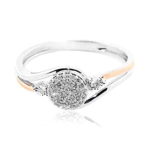 rings-midwestjewellery. com da donna 10K Bianco E Oro Rosa Diamante 0.15cttww promessa anello di fidanzamento Swirl (i/J color 0,15cttw)