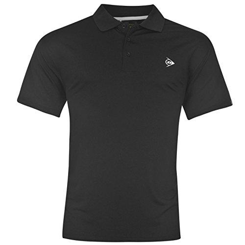 Dunlop Herren Plain Polo Shirt Kurzarm Tee Top T-Shirt Extra Leicht Sportshirt Schwarz