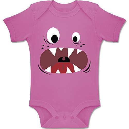 Pink Kostüm Monster Mädchen - Shirtracer Karneval und Fasching Baby - Monster Kostüm Gesicht - 1-3 Monate - Pink - BZ10 - Baby Body Kurzarm Jungen Mädchen