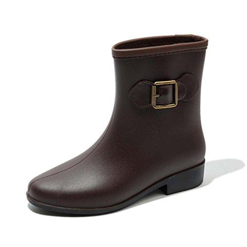 Damen-Stiefel Für Erwachsene Martin Schuhe Für Frauen In Der Röhre Stiefel Wasserdicht Schuhe Kurze Röhre Rutschfeste Schuhe,Brown,39