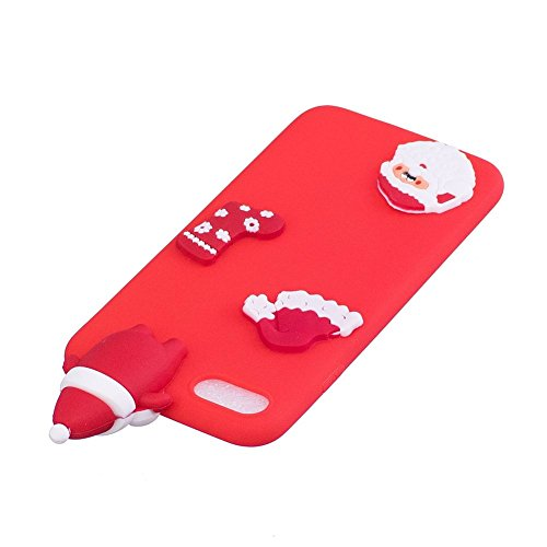 Cover iPhone 7 Natale Santa Custodia Bello 3D Cartoon Sollievo Proiezioni Modello Albero Natale Pupazzo Neve Cervo Mottif Ultra Magro Sottile Silicone TPU Case Gomma Flexible Caso Colore Puro Fresco C Rosso Santa