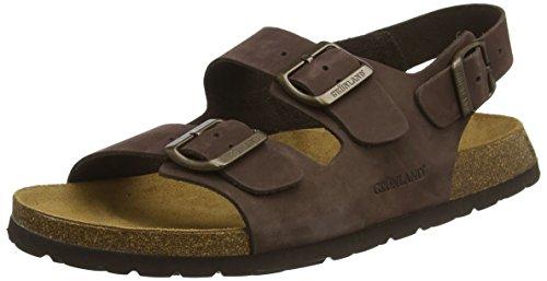Grunland bobo, sandali con cinturino alla caviglia uomo, marrone (testa di moro temo), 42 eu