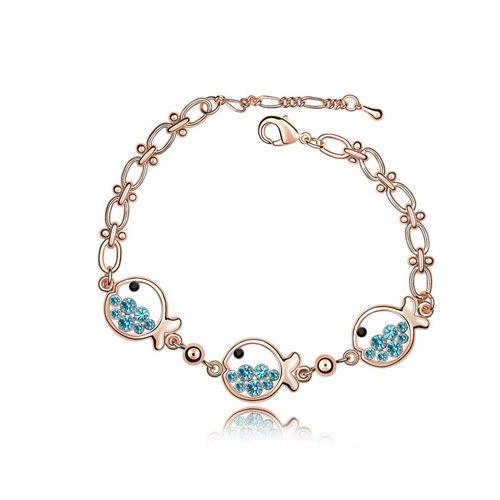 Qsoleil Kristall Armband Fisch Prinzessin Design Armbänder Strass Armbänder für Mädchen Frauen...