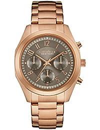 Caravelle New York Rose Gold Melissa Gris Reloj de cuarzo para mujer con cronógrafo y oro rosa pulsera 44l198