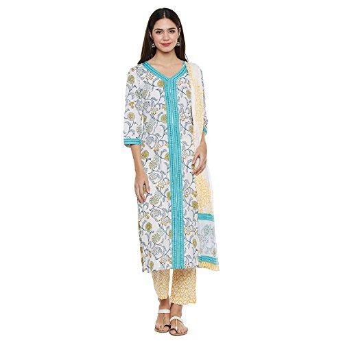 Pinkshink White and Turquoise Blue Block Printed Salwar Suit Dress Material k231