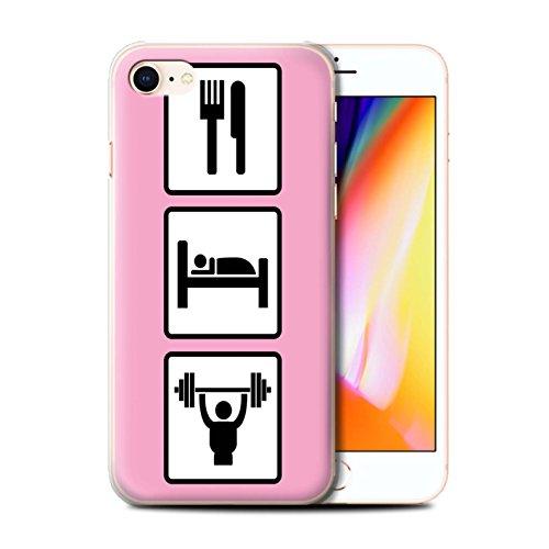 Stuff4 Hülle / Case für Apple iPhone 8 / Fußball/Blau Muster / Essen/Schlaf Kollektion Heben/Training/Rosa